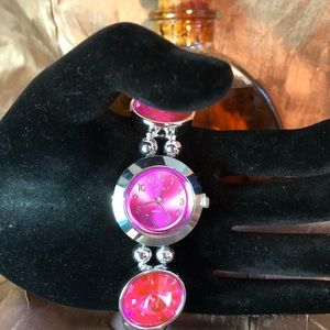 Watch pink color bling with crystals
